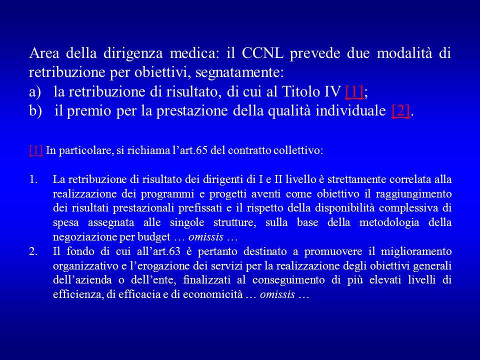 a) la retribuzione di risultato, di cui al Titolo IV [1];